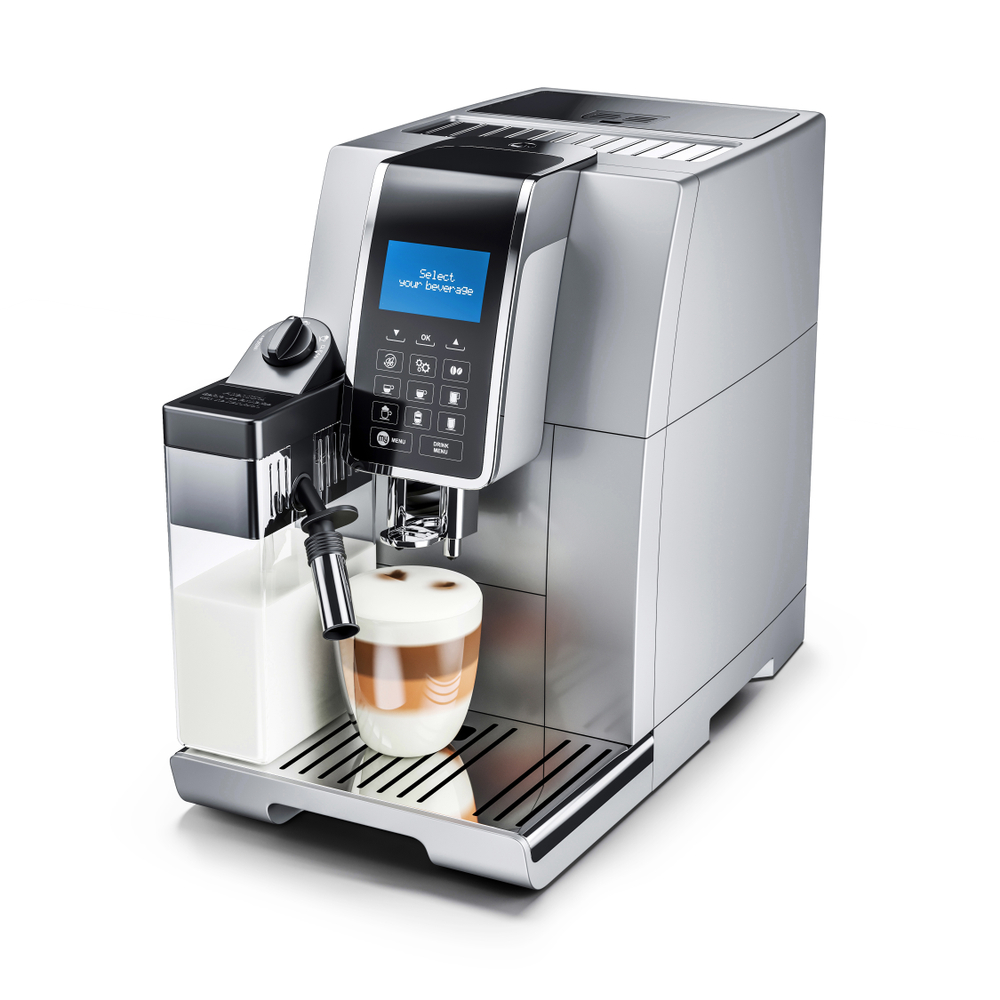 Kleiner Kaffeeautomat mit Milchtank und Milchdüse